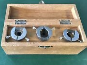 Set Of 2 Unitron Microscope Objective's Lenses And 3 Quick Mounts In Wooden Box.