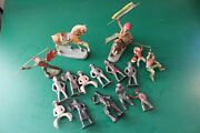 Lot Of Vintage Cowboys And Hand Painted Indian And Horses Toys Plastic And Composite