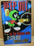 """Marvin The Martian Looney Tunes Plastic Bedroom Door/wall/office Sign """"keep Out"""""""