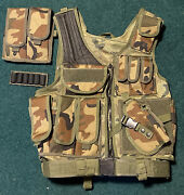 Military Woodland Camo Enhanced Tactical Load Bearing Vest Airsoft Paintball