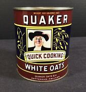 Vintage Quaker Quick Cooking White Oats Tin Made In Rotterdam- Holland