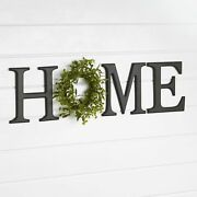 Home Sign - Farmhouse Letter Wall Sentiment Décor With Faux Wreath