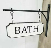 Vintage Style Shabby Rustic Hanging Metal Bath Sign With Hanging Bar