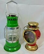 Vintage Oil Lanterns Lamps - Lot Of 2 - Red And Green Retro Designs