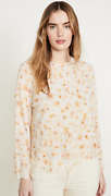 New Vince Pressed Petal Long Sleeve Blouse In Yellow - Size M T1219