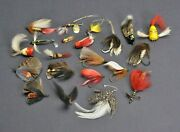 Fishing Lures Antique Vintage Metal Wood Feathers Lot Fly Rod Flies Bait Fish