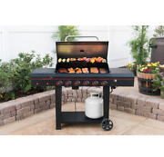 Outdoor Gas Grill 6-burner Propane Bbq Grill Black Stainless Steel Cooking Lp