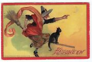 Halloween Postcard By Tuck, Raphael And Sons, Series 174, Witch Fyling On Broom.