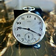 A Stunning Vintage 1926 Gents Silver Rolex Pocket Watch With Guilloche Dial