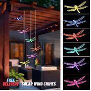 Solar Powered Dragonfly Wind Chimes Hanging Led Light Outdoor Garden Lawn Decor