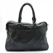 Chrome Hearts Briefcase Leather Black Cad Rubberd Large Piping Look Zip Dagger M