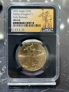 2021 50 Gold American Eagle Type 1 Ngc Early Releases Ms 69 Retro Core