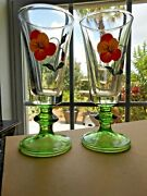 Pair Green Enameled Wine Glasses Coudersport Glass Co. Pa
