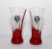 Set Of 2 Beer Bourbon Bbq Festival 2014 Glasses Makers Mark Red Wax Hand Dipped