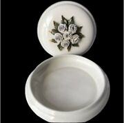 Candy Trinket Butter Bowl Dish With Lid Creazioni Italy Porcelain Round Floral