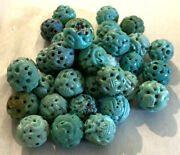 Antique 34 Natural Turquoise Tibetan Carved Dragon 11mm Beads Estate Jewelry Lot