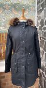 Barbour Ladies Mull Waxed Jacket Colour Navy Size Uk 8 Missing Throatstrap