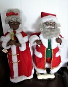 Vtg Animated Afro American Mr. And Mrs. Santa Claus Christmas Lighted Figures 24
