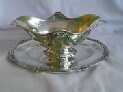 Antique Elaborate French Henri Soufflot Silver Hallmarked Sauce Boat And Tray