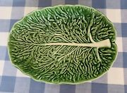 Olfaire Oval Bowl Pottery Green Cabbage Leaf White Veins Majolica Portugal Gloss