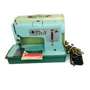 Mint Green Vintage Singer 338 Sewing Machine 1964 With Case And Foot Pedal