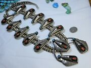 Old Pawn Navajo Coral Bisbee Turquoise Sterling Silver 32 221g Squash Blossom