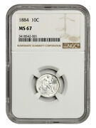 1884 10c Ngc Ms67 - Frosty White Gem - Liberty Seated Dime - Frosty White Gem