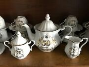50th Anniversary Gold Wedding Porcelain Tea Pot Set Creamer And 12 Cups Walbrzych