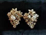 Vintage Signed Robert Haskell Style Faux Pearl Clip On Earrings.