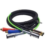 Electrical Air Hose Assembly For Tractor Trailers 3 In 1 Air And Power Line 12ft