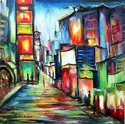 Paysage Tableau Kspersee Peinture Mixed Toile Chassis Time Square New York