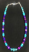 Natural Purple Sugilite/turquoise/silver Beaded Necklace/choker 18 Usa ❤️