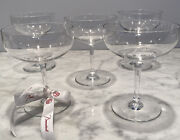 5 Baccarat Mouth Blown Hand Cut Champagne Coupes Perfection Pattern Signed