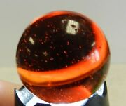 11738m Rare Huge 1.10 Inches Akro Agate Amber Glass Corkscrew Shooter Marble