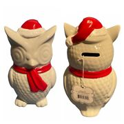 Owl Coin Bank Pier 1 One Beriwinkle Christmas Santa Holiday Figurine Piggy Scarf