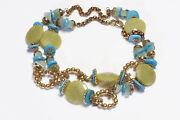 Lawrence Vrba Gold Plated Green Agate Blue Turquoise Beads Chain Necklace