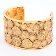 Vintage 2 8 Bangle Gold Plated Gold Coin Motif