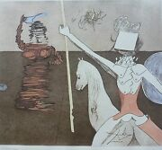 Salvador Dali Off To Battle Don Quixote Signed Hand Numbered Etching