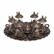 Turkish Style Tea Sets Handmade Cups Saucers Lids Tray Delight Candy Dish Set