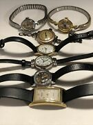 Antique Vintage Watch Lot 7 For Parts Repair Elgin Carriage Gruen Timex Leather