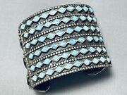 One Of The Best Ever Vintage Zuni Turquoise Inlay Sterling Silver Bracelet