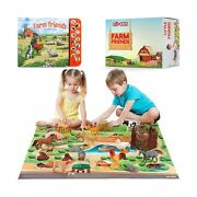 Lil-gen Farm Animals With Farm Animal Sound Book 12 Toy Figures With Playmat...