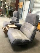 1990 Ford F350 Used Front Left And Right Blue Bucket Seats W Wooden Center Console
