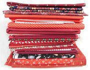 Over 35 Yds Red Green Print Floral Cotton Plaid Vintage Fabric Quilt Fabric Lot