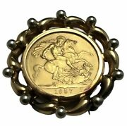 18k Yellow Gold And 1957 British Sovereign 1/4oz Pure Gold Coin Pin Brooch 14g