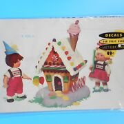 Meyercord Gingerbread House Decals Boy Girl Candy Ice Cream Cone Xmas Vtg Mcm