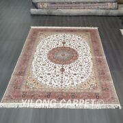 Yilong 7and039x10and039 Handknotted Silk Carpet Pink Antistatic Oversized Area Rug Tj306c