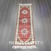 Yilong 2and039x6and039 Handknotted Silk Hallway Rug Runner Home Decor Indoor Carpet L043b