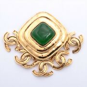 Coco Mark 94p Brooch Gold Plated Gold Color Stone