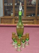 Vintage Murano /bohemian Green Glass Hand Painted Gold Decanter And 5 Glasses Set